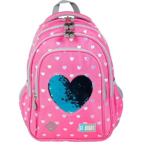 Plecak różowy dla dziewczynki z cekinami ST.RIGHT SEQUIN CATS koty BP58