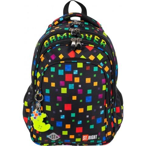 Plecak do szkoły chłopięcy czarny ST.RIGHT GAME OVER kolorowe piksele BP58