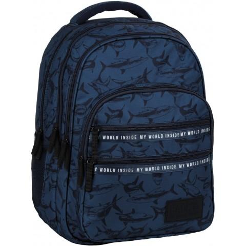 Plecak do szkoły granatowy BackUP REKINY dla chłopca do 2 klasy M50