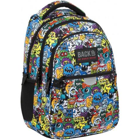 Plecak szkolny dla chłopca BackUP STORY kolorowy w potworki P47
