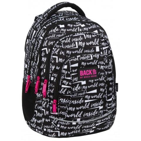 Plecak do szkoły czarny BackUP dziewczęcy EPICKI z napisami A09