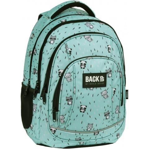 Plecak szkolny miętowy w pandy szopy koty BackUP SŁODZIAKI dla dziewczynki A29