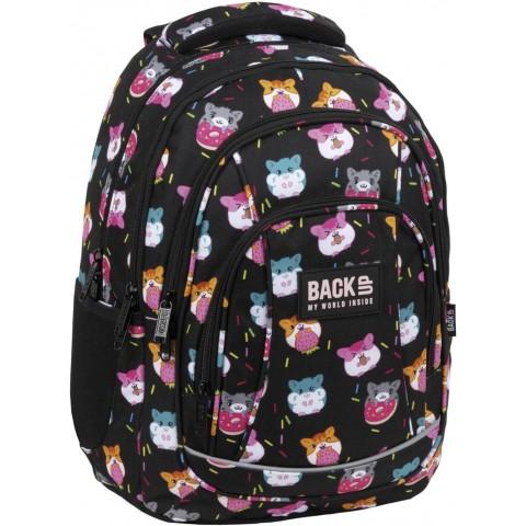 Plecak szkolny czarny BackUP CHOMIKI dla dziewczynki A37