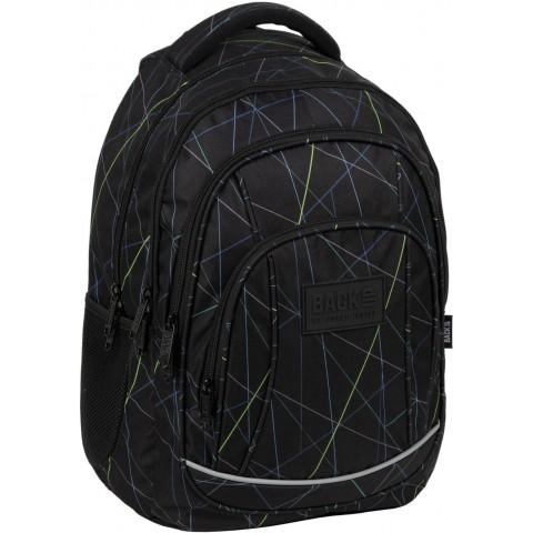 Plecak do szkoły 3 komory czarny BackUP LASER do 3 klasy chłopięcy A48