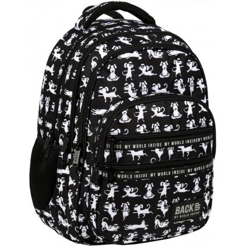 Plecak dla dzieci do szkoły z pieskiem BackUP PSY JOGA czarny M34