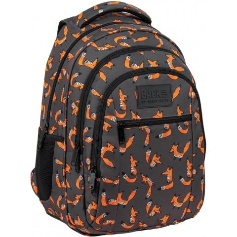 Plecak młodzieżowy szary BackUP w liski BackUP FOX do szkoły O39