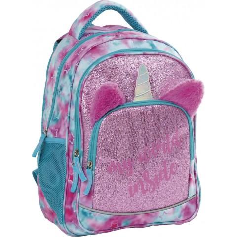 Plecak do 1 klasy BackUP jednorożec z uszami i rogiem dla dziewczynki Y57