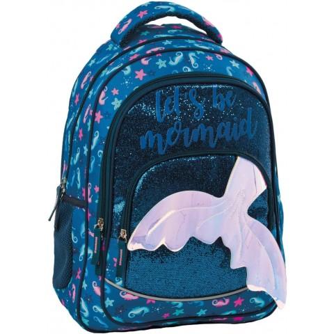 Plecak szkolny syrenka dla dziewczynki BackUP GLOSSY NAVY granatowy z ogonem Y58