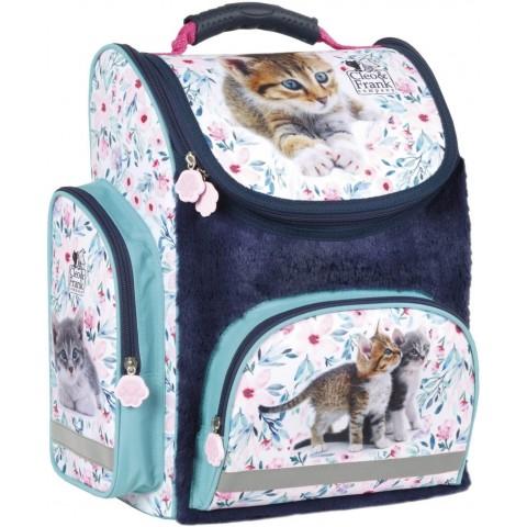 Tornister dla dziewczynki z kotkiem do 1 klasy DERFORM szkolny pluszowy Cleo & Frank