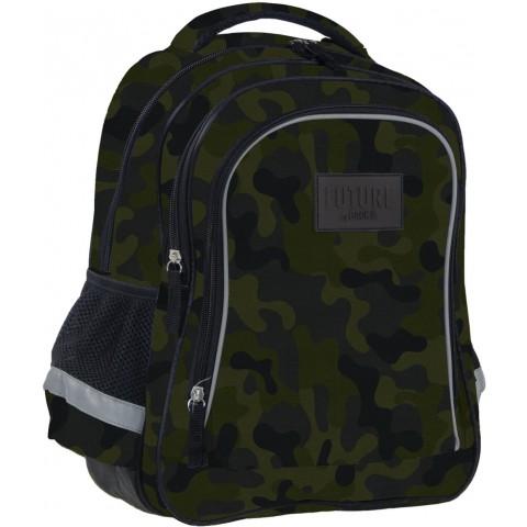 Plecak szkolny dla chłopca moro DERFORM do 1 klasy czarny Future By BackUP