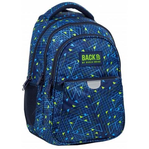 Plecak szkolny dla chłopca BackUP trójkąty niebieski do 1 klasy P44
