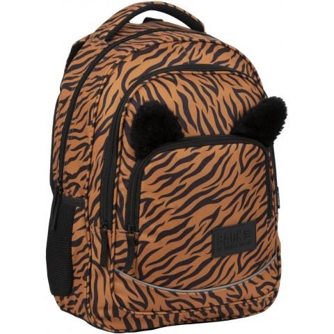 Plecak do szkoły dla dzieci z uszami TYGRYS BackUP pomarańczowy w paski YA18