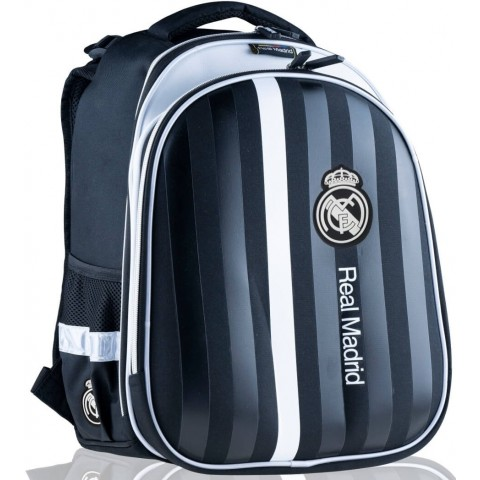 Tornister plecak do szkoły Real Madryt czarny dla chłopca w pasy RM-210