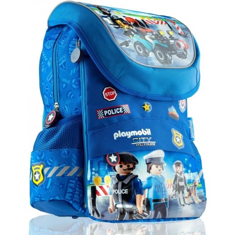 Plecak tornister niebieski chłopięcy PLAYMOBIL City Action akcja policji PL-11
