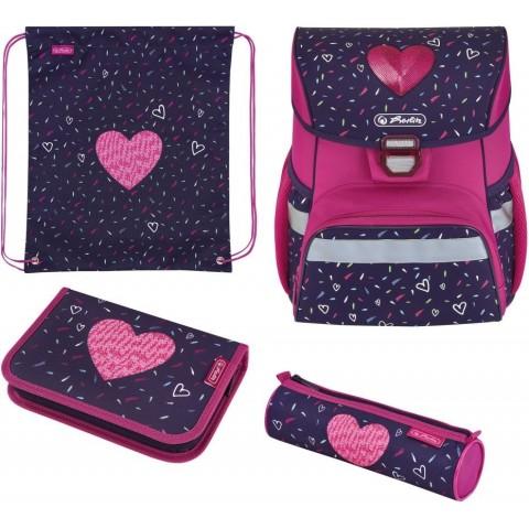 Tornister dla dziewczynki z wyposażeniem HERLITZ różowy z sercem LOOP PLUS TROPICAL HEART zestaw 4 el.