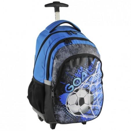 Plecak na kółkach niebieski z piłką