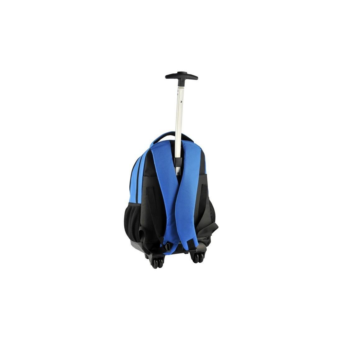 Plecak na kółkach niebieski z piłką - plecak-tornister.pl
