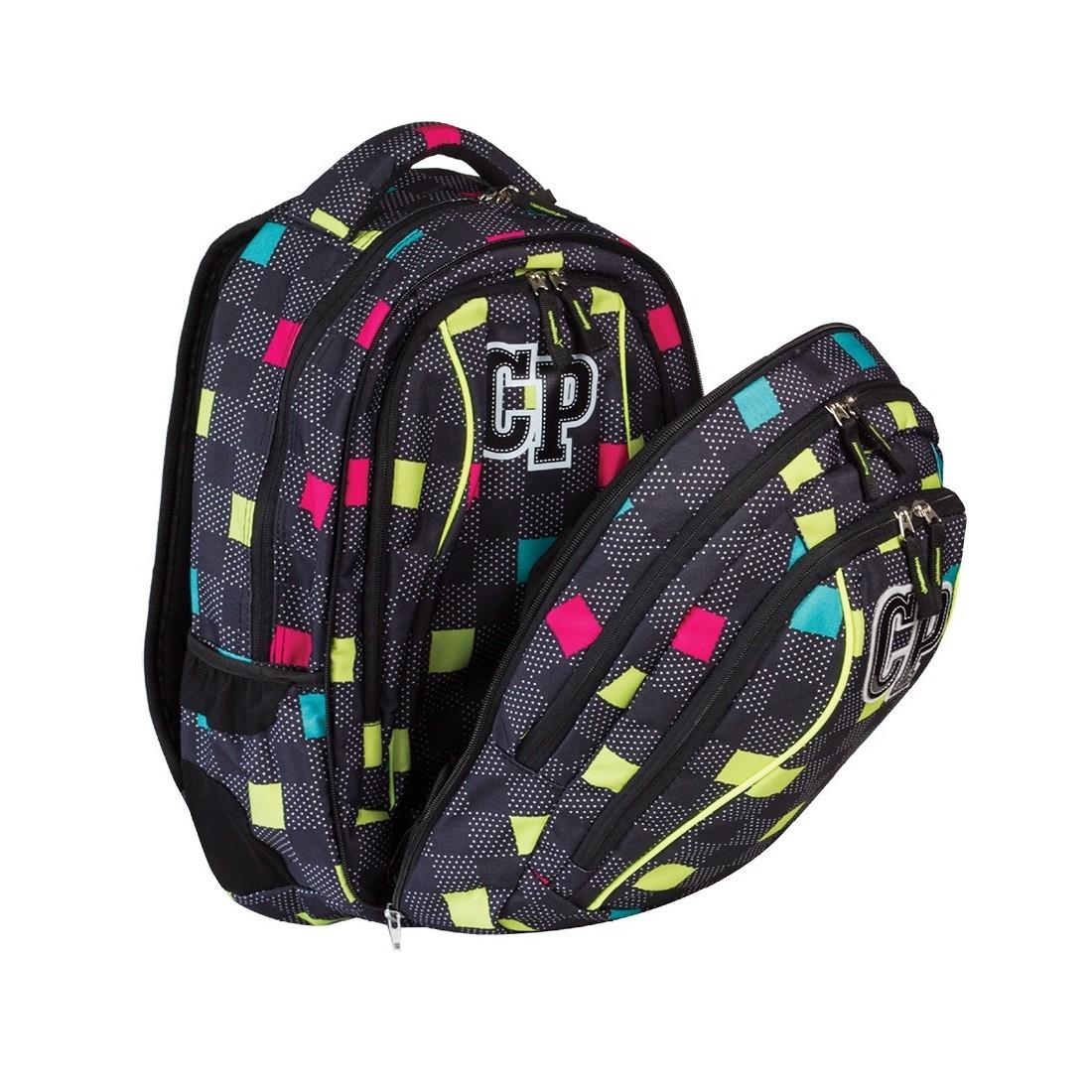 Plecak młodzieżowy CoolPack CP czarny w kwadraciki - 2w1 COMBO COLOUR TILES 472 - plecak-tornister.pl