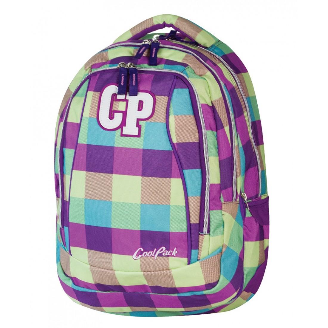Plecak młodzieżowy CoolPack CP fioletowy w kratkę - 2w1 COMBO PURPLE PASTEL 482 - plecak-tornister.pl