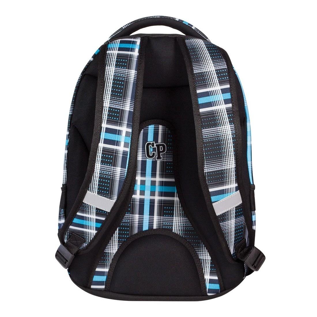 Plecak młodzieżowy CoolPack CP czarny i niebieski w kratkę - 2w1 COMBO SPORTY 451 - plecak-tornister.pl