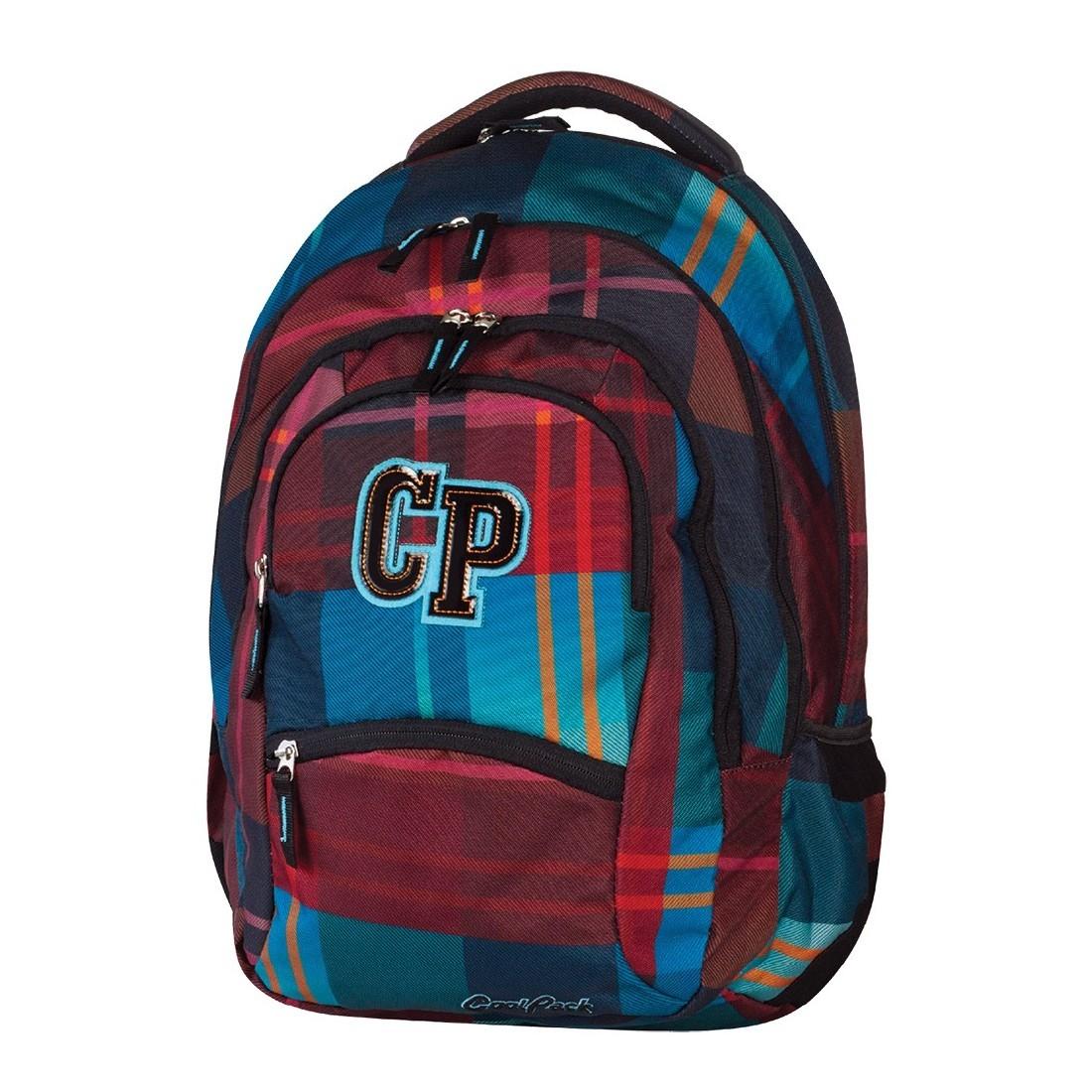 Plecak młodzieżowy CoolPack CP bordowy i niebieski - 5 przegród COLLEGE MAROON 461 - plecak-tornister.pl