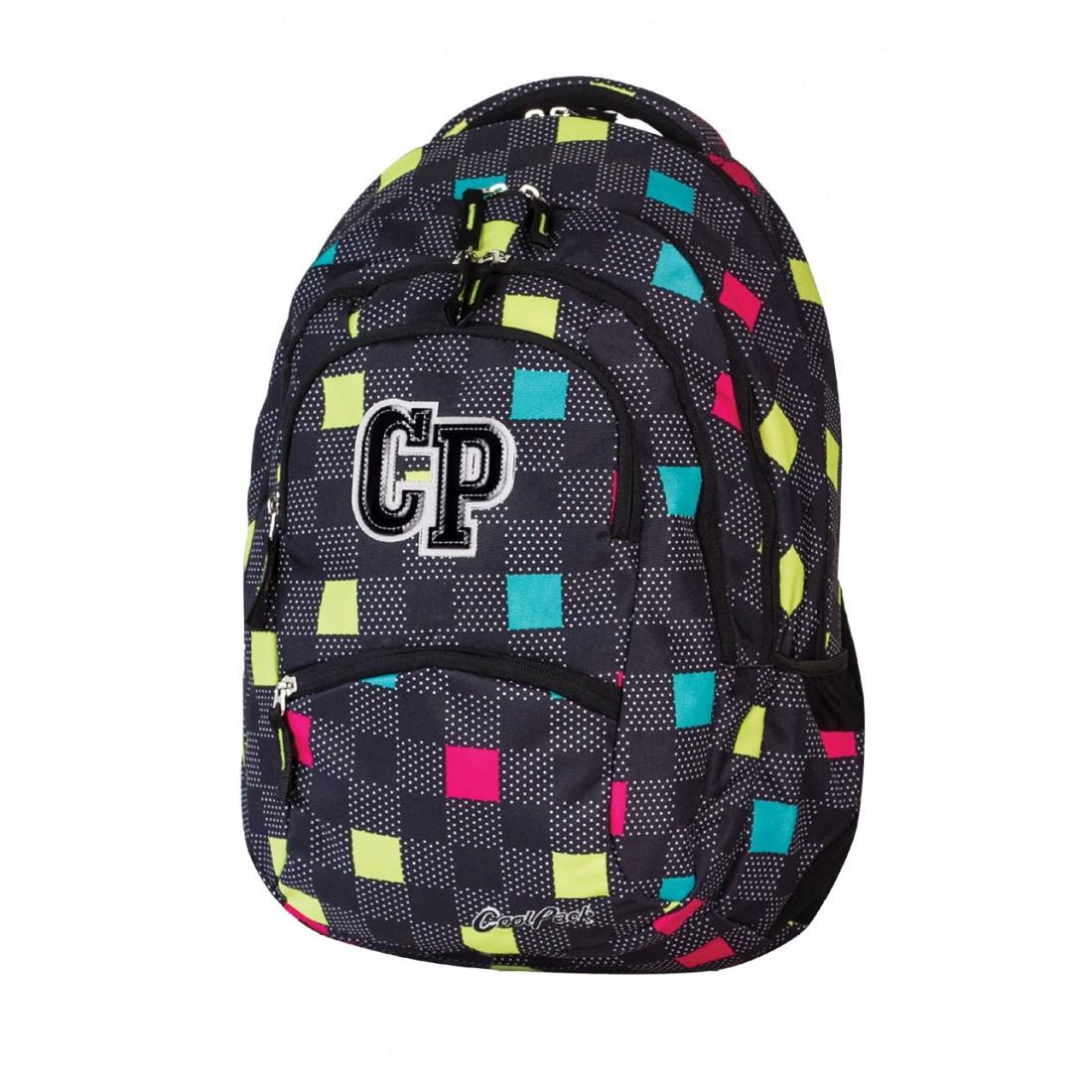 Plecak młodzieżowy CoolPack CP czarny w kwadraciki - 5 przegród COLLEGE COLOUR TILES 469 - plecak-tornister.pl
