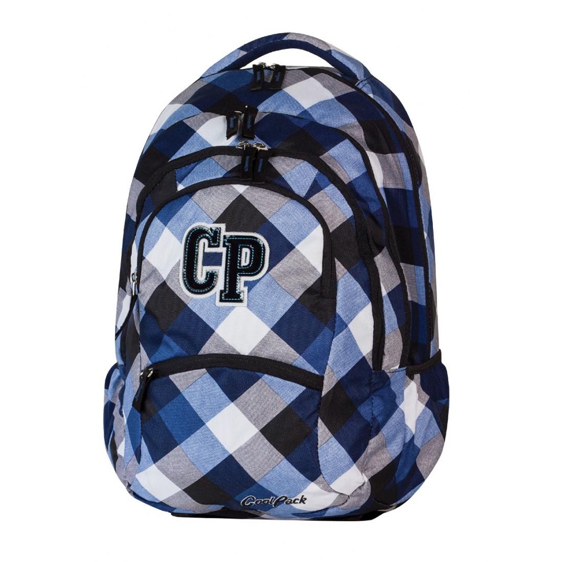 Plecak młodzieżowy CoolPack CP biało niebieski w kratkę - 5 przegród COLLEGE CAMBRIDGE 465 - plecak-tornister.pl