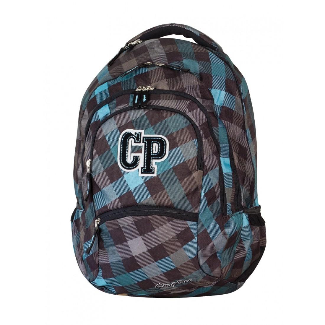 Plecak młodzieżowy CoolPack CP szary w kratkę - 5 przegród COLLEGE CLASSIC GREY 485 - plecak-tornister.pl