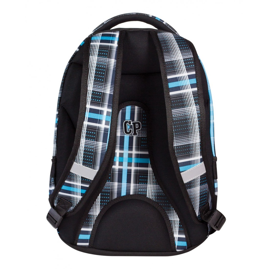 Plecak młodzieżowy CoolPack CP czarny i niebieski w kratkę - 5 przegród COLLEGE SPORTY 448 - plecak-tornister.pl