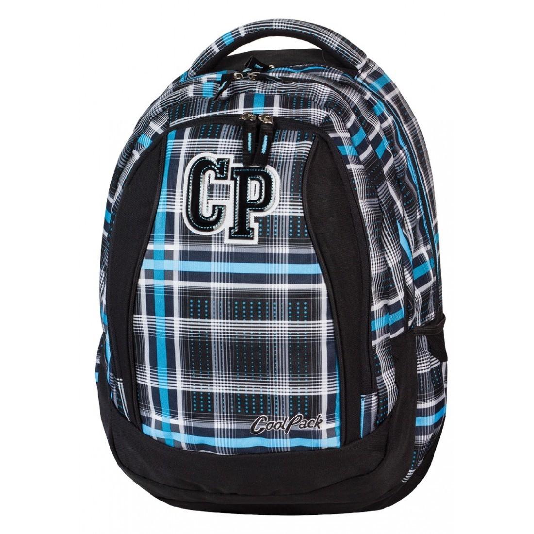 Plecak młodzieżowy CoolPack CP czarny i niebieski w kratkę - 3 przegrody STUDENT SPORTY 449 - plecak-tornister.pl