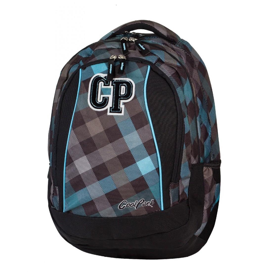 Plecak młodzieżowy CoolPack CP szary w kratkę - 3 przegrody STUDENT CLASSIC GREY 486 - plecak-tornister.pl