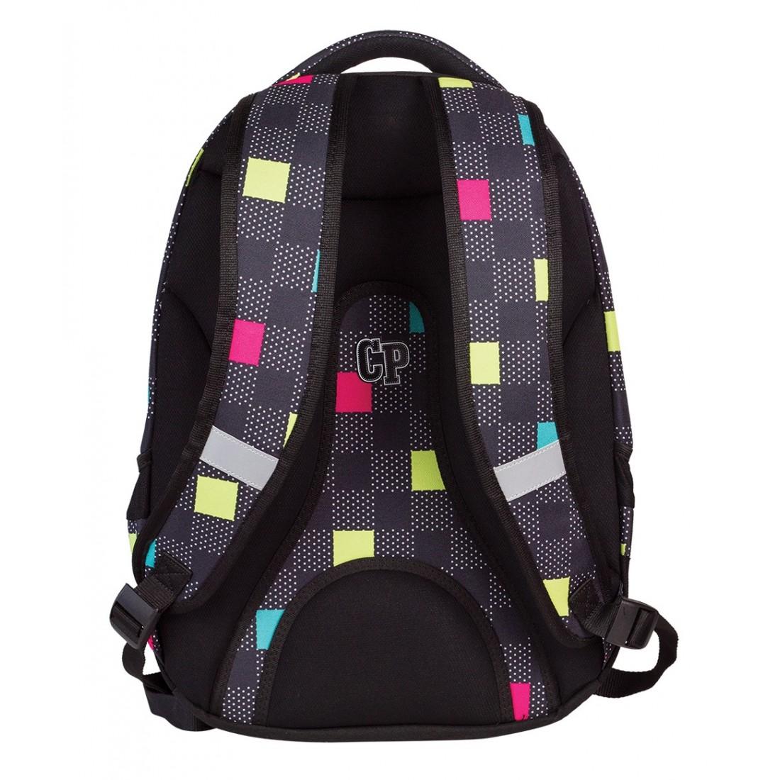 Plecak młodzieżowy CoolPack CP czarny w kwadraciki - 3 przegrody STUDENT COLOUR TILES 470 - plecak-tornister.pl