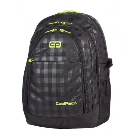 Plecak młodzieżowy CoolPack CP GRAND BLACK & YELLOW 415 duży czarny w kratkę + żółte wstawki - 3 przegrody