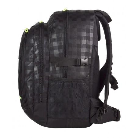 Plecak młodzieżowy CoolPack CP duży czarny w kratkę + żółte wstawki - 3 przegrody GRAND BLACK & YELLOW 415
