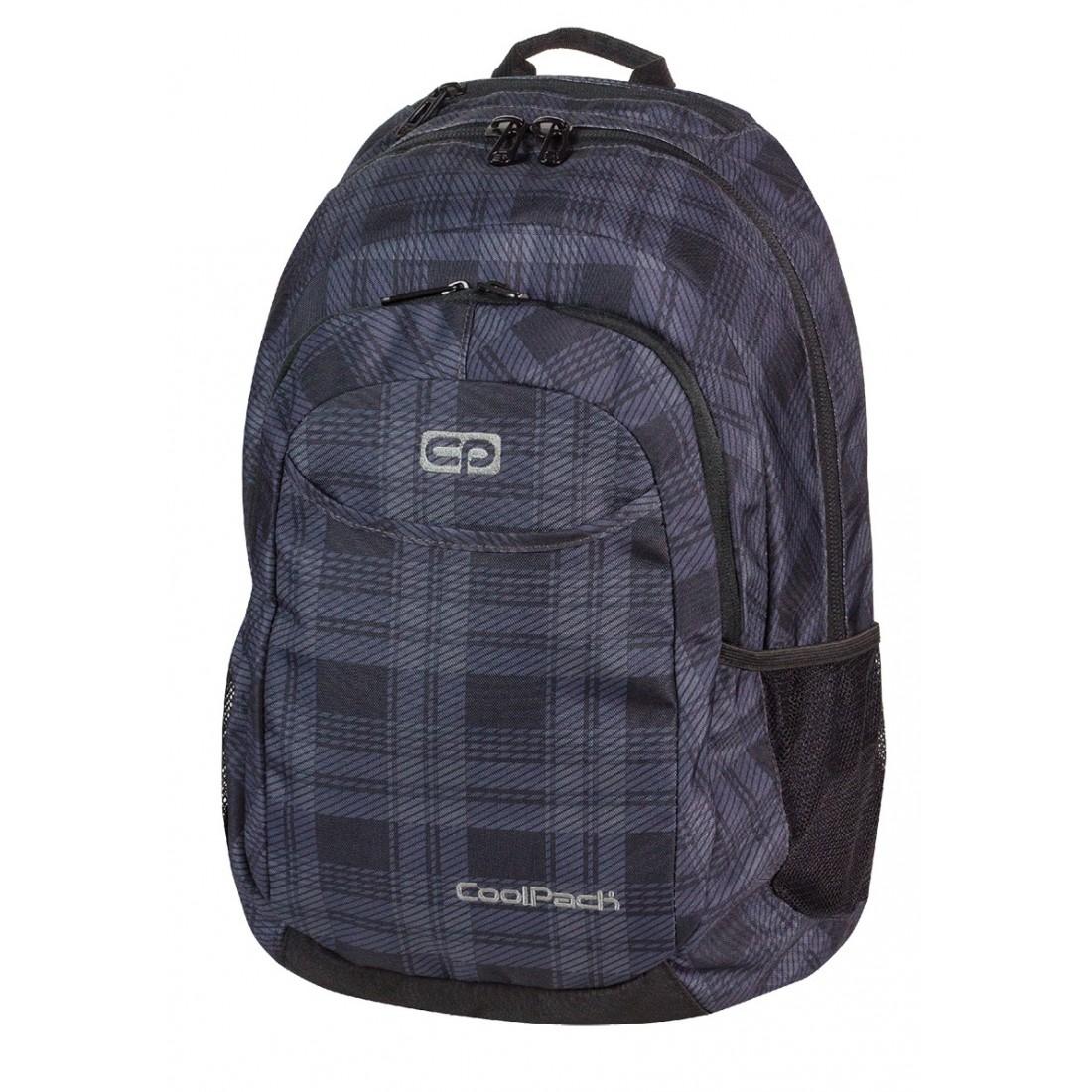 Plecak młodzieżowy na laptop CoolPack CP czarno - szary w kratkę URBAN DERBY 371 - plecak-tornister.pl