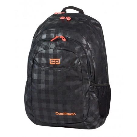 Plecak młodzieżowy na laptop CoolPack CP czarny w kratkę + pomarańczowe wstawki URBAN BLACK & ORANGE 422