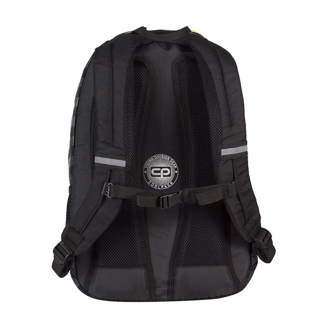 Plecak młodzieżowy na laptop CoolPack CP czarny w kratkę + żółte wstawki URBAN BLACK & YELLOW 412 - plecak-tornister.pl