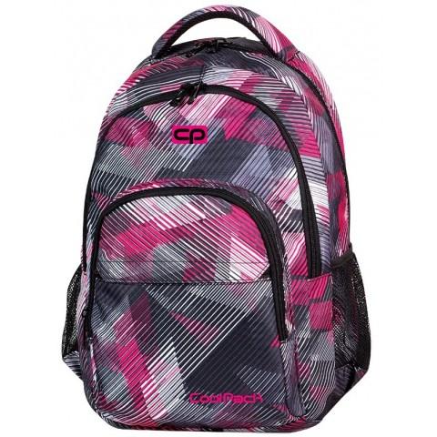 Plecak młodzieżowy CoolPack CP lekki szaro - różowy w paski - BASIC PINK MOTION 378