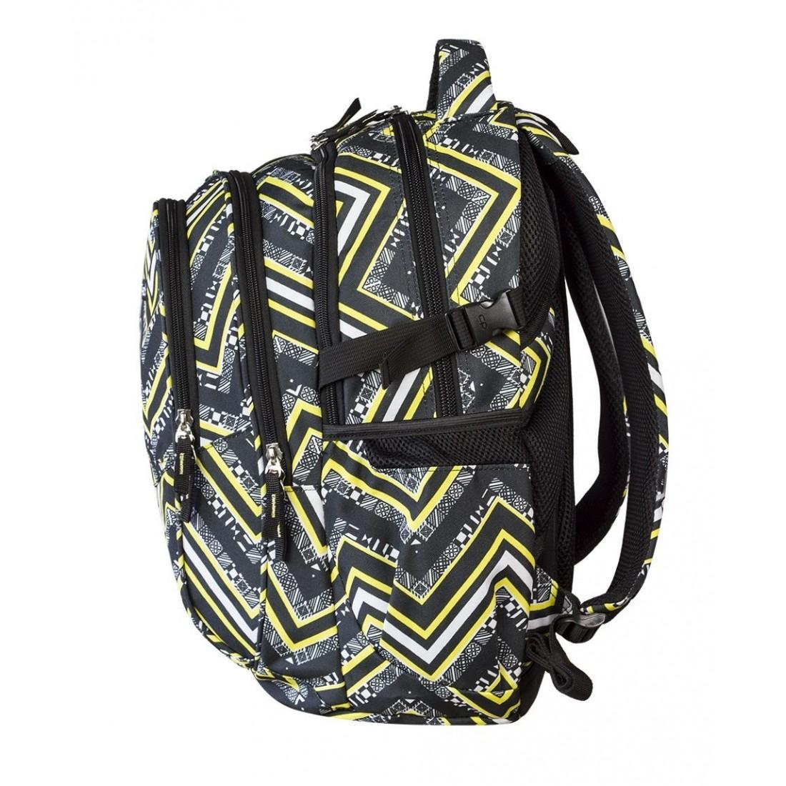 Plecak młodzieżowy CoolPack CP czarno - żółty w jodełkę - 4 przegrody FACTOR YELLOW CHEVRON 441 - plecak-tornister.pl