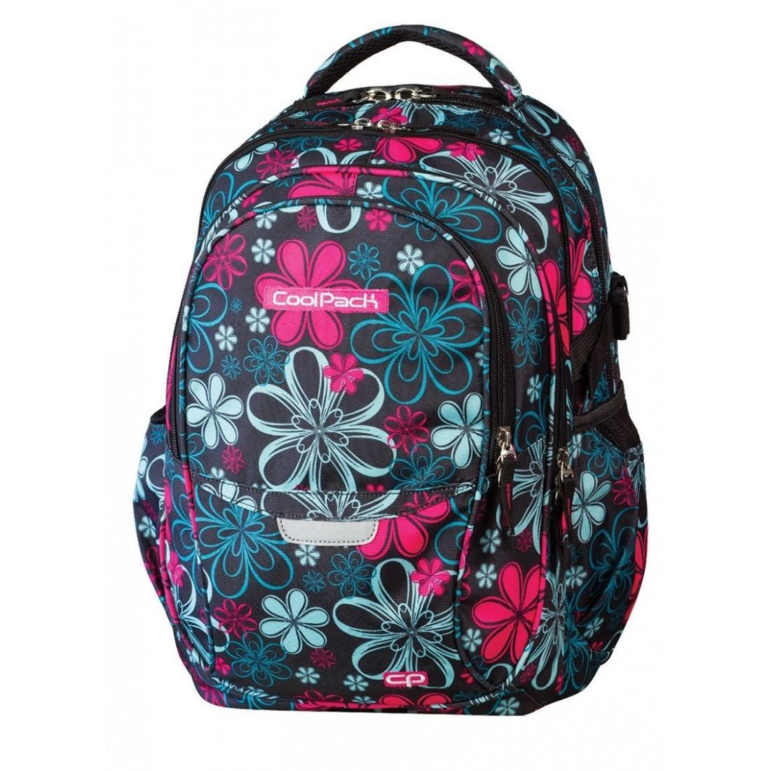 Plecak młodzieżowy CoolPack CP czarny w kwiaty - 4 przegrody FACTOR FLOWERS 439 - plecak-tornister.pl