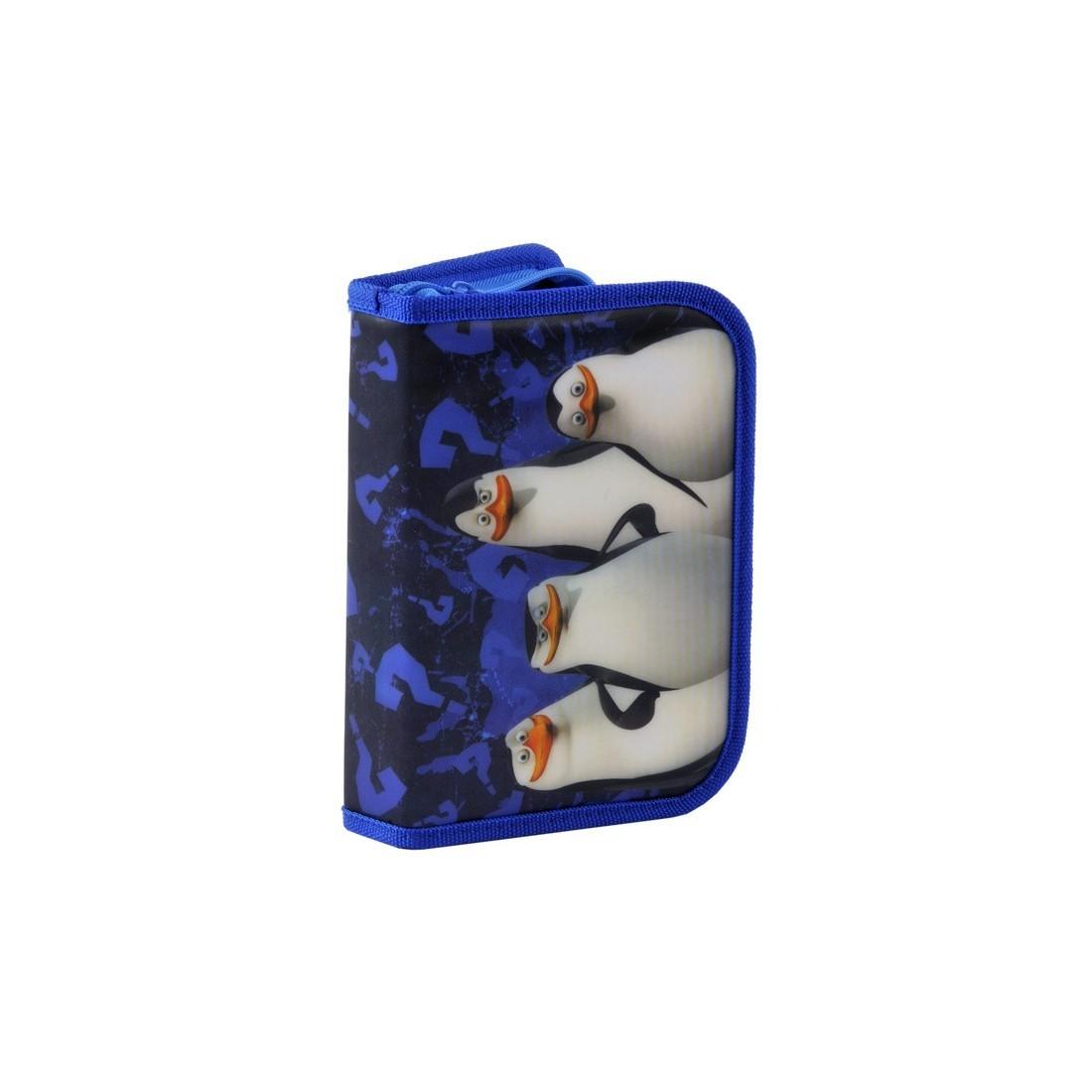 Piórnik z wyposażeniem Pingwiny z Madagaskaru granatowy - plecak-tornister.pl
