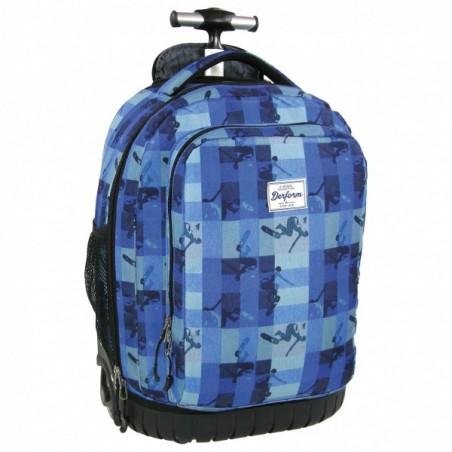 Plecak młodzieżowy na kółkach w niebieską kratkę