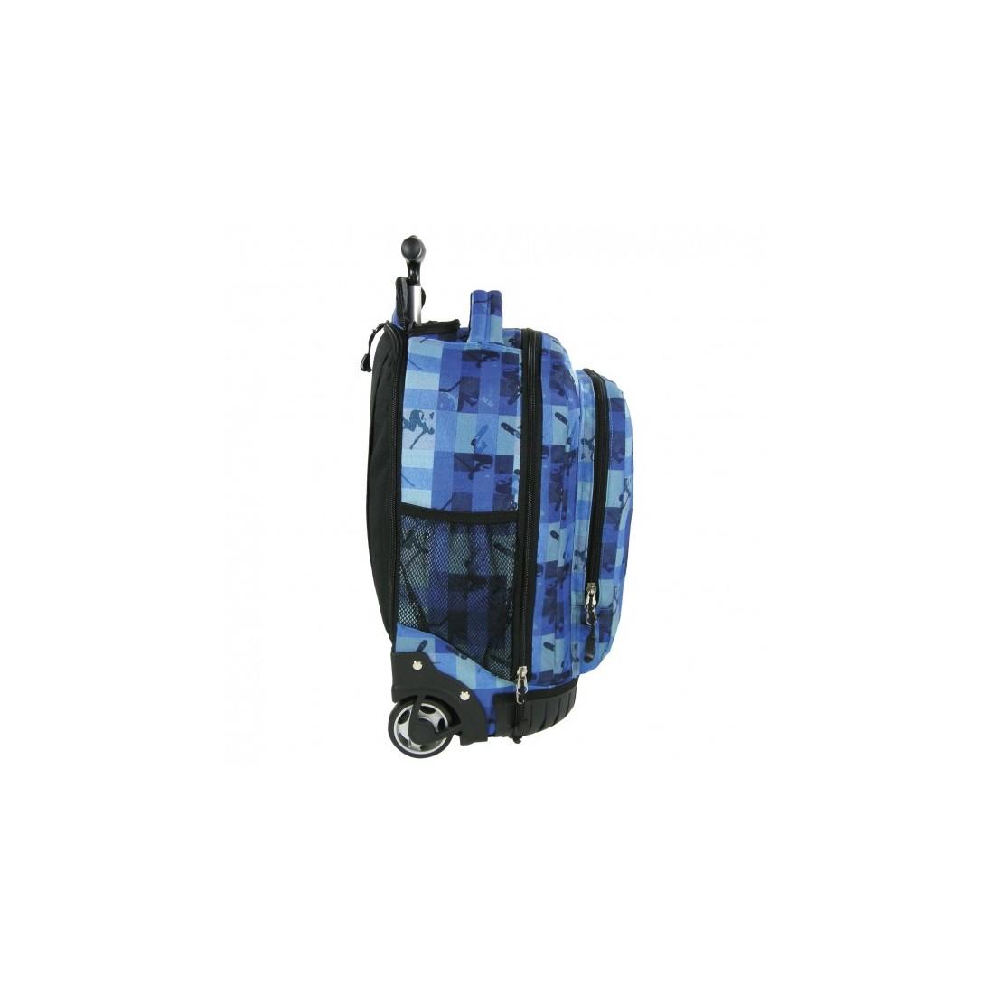 Plecak młodzieżowy na kółkach w niebieską kratkę - plecak-tornister.pl