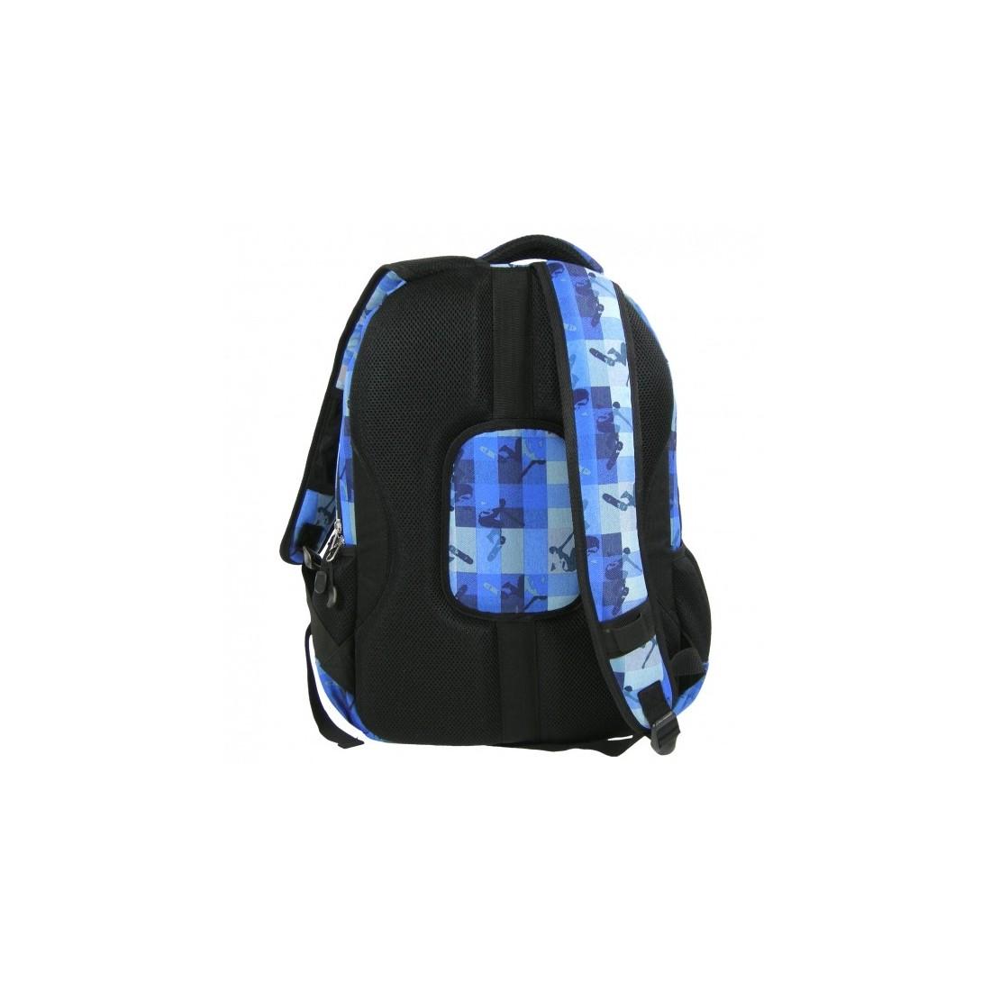 Plecak młodzieżowy w niebieską kratkę - plecak-tornister.pl