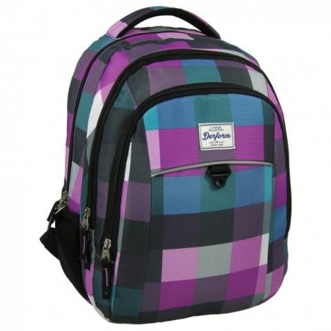 Plecak młodzieżowy w fioletowo niebieską kratę
