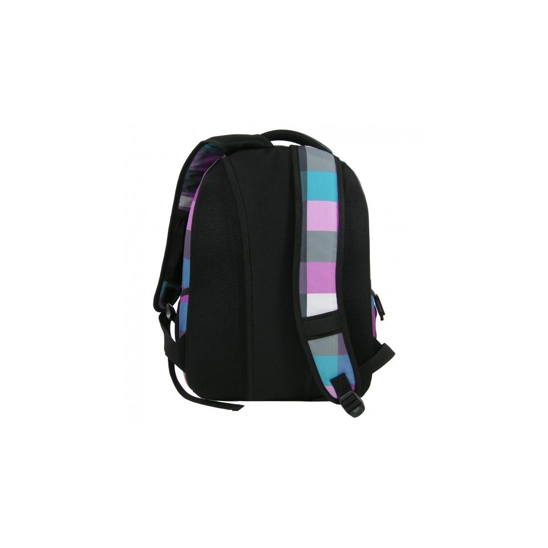 Plecak młodzieżowy w fioletowo niebieską kratę - plecak-tornister.pl