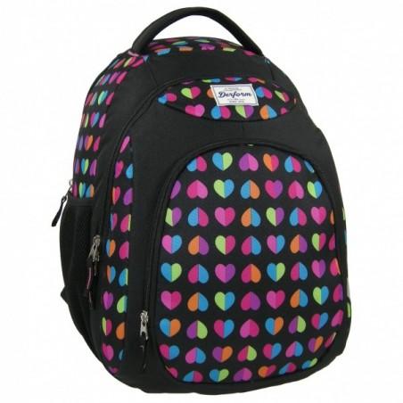 Plecak młodzieżowy czarny w kolorowe serduszka