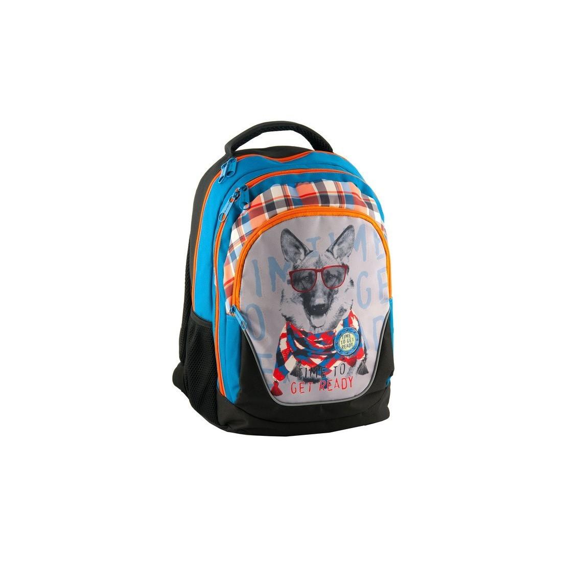 Plecak szkolny z psem w okularach - plecak-tornister.pl