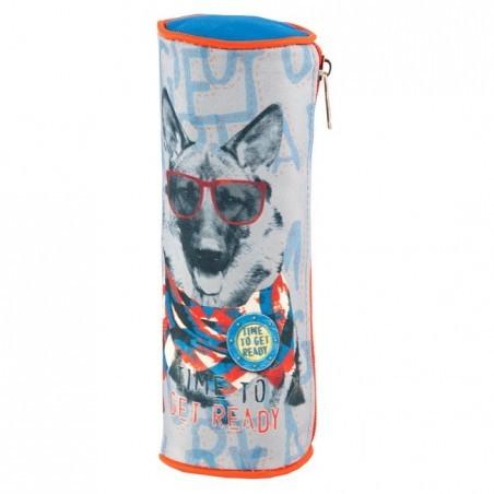 Piórnik tuba z psem w okularach