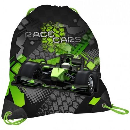 Worek szkolny czarno zielony z wyścigówką